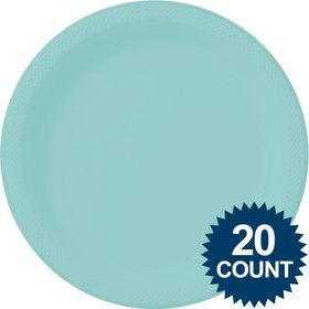 Robins Egg Blue 10? Plastic Dinner Plates (20 Pack)