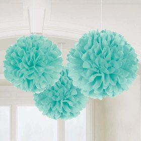"Robin's Egg Blue 16"" Fluffy Decorations (3)"