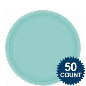 "Robin's Egg Blue 9"" Paper Luncheon Plates (50 Pack)"
