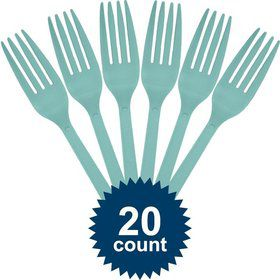 Robins Egg Blue Plastic Forks (20 Pack)