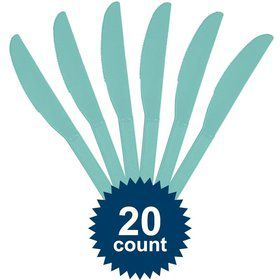 Robins Egg Blue Plastic Knives (20 Pack)