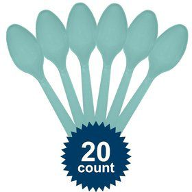 Robins Egg Blue Plastic Spoons (20 Pack)