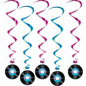 Rock & Roll Record Hanging Whirl Decorations (5 Pack)