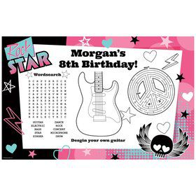 Rock Star Girl Personalized Activity Mat (8 pack)