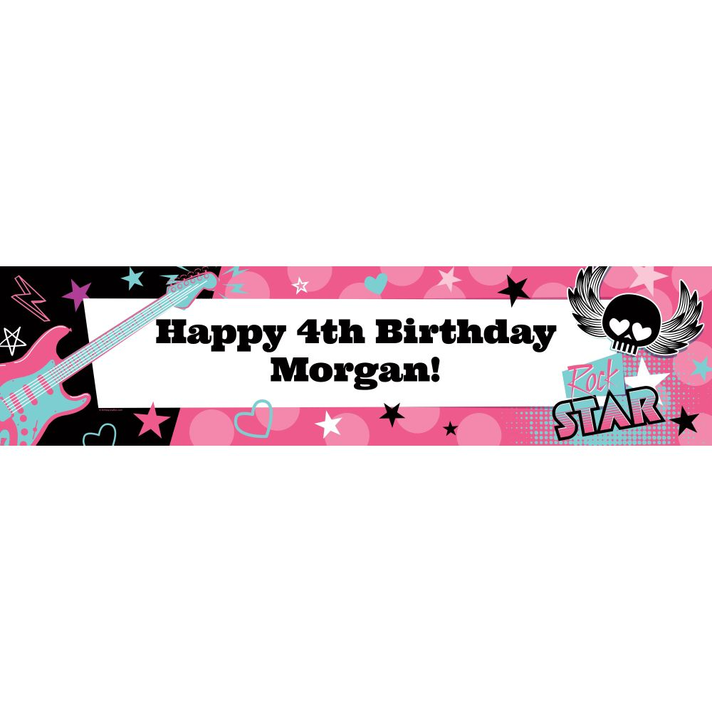 Rock Star Girl Personalized Banner (each) - Party Supplies BB1004BN
