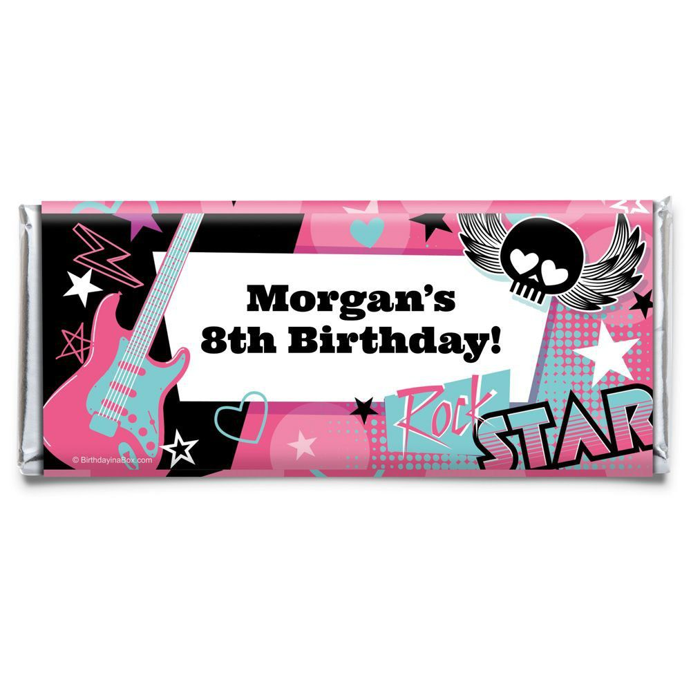 Rock Star Girl Personalized Candy Bar Wrapper - Party Decorations ...