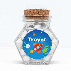 """Rocket to Space Personalized 3"""" Glass Hexagon Jars (Set of 12)"""