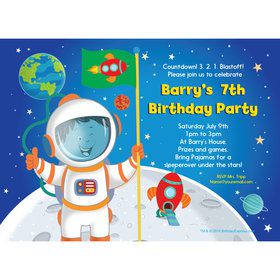 Rocket to Space Personalized Invitation (Each)