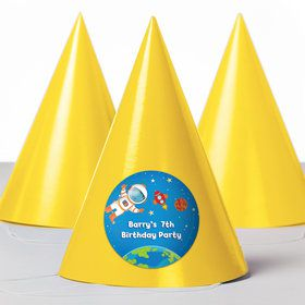 Rocket to Space Personalized Party Hats (8 Count)