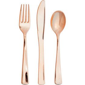Rose Gold Assorted Plastic Cutlery (24)