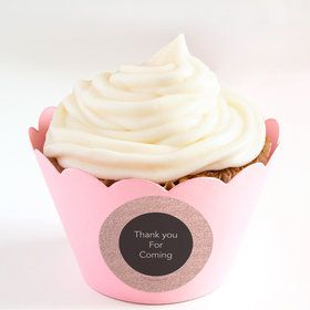Rose Gold Celebration Personalized Cupcake Wrappers (Set of 24)