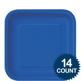 "Royal Blue 9"" Square Luncheon Plates (14 Pack)"