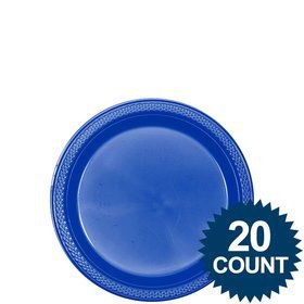 "Royal Blue Plastic Plates, 7"" (20 count)"