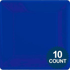 "Royal Blue Premium Plastic 10.75"" Square Dinner Plates 10ct"