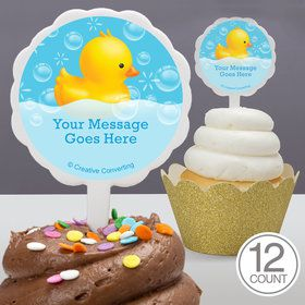 Rubber Duck Personalized Cupcake Picks (12 Count)