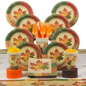 Rustic Fall Party Deluxe Tableware Kit Serves 8