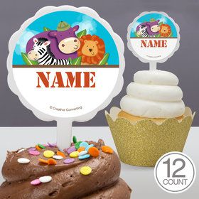 Safari Adventure Personalized Cupcake Picks (12 Count)