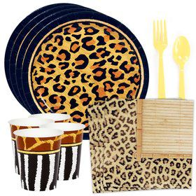 Safari Animal Adventure Standard Tableware Kit (Serves 8)