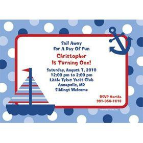 Sail Party Personalized Invitation (each)