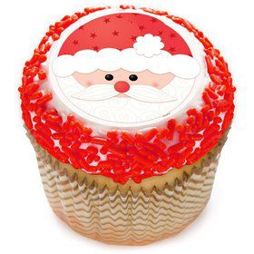 "Santa Face 2"" Edible Cupcake Topper (12 Images)"