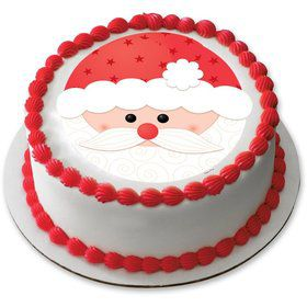 "Santa Face 7.5"" Round Edible Cake Topper (Each)"