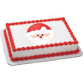 Santa Face Quarter Sheet Edible Cake Topper (Each)