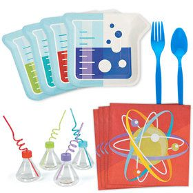 Science Party Standard Tableware Kit With Molded Cups (Serves 8)
