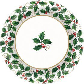 "Seasonal Holly 10"" Dinner Plates (40 Pack)"