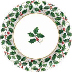 "Seasonal Holly 6 3/4"" Cake Plates (40 Pack)"