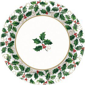 "Seasonal Holly 8 1/2"" Luncheon Plates (40 Pack)"