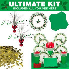 Seasonal Holly Christmas Party Ultimate Tableware Kit Serves 40