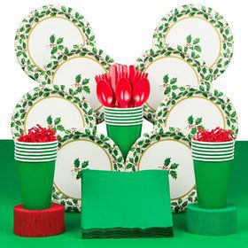 Seasonal Holly Party Deluxe Tableware Kit Serves 40