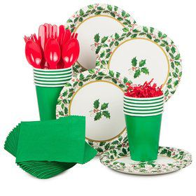 Seasonal Holly Standard Tableware Kit Serves 40