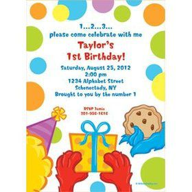 Sesame Friends Personalized Invitation (each)