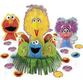 Sesame Street 1st Birthday Centerpiece (3 Centerpieces And Confetti)