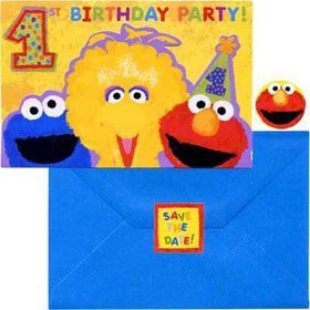 Sesame Street 1st Birthday Invitations (20-pack)