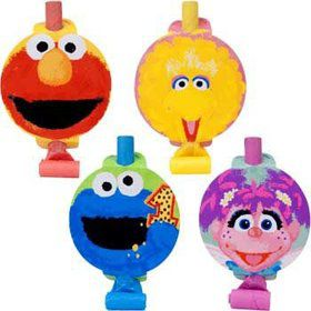 Sesame Street 1st Birthday Party Blowers (8-pack)