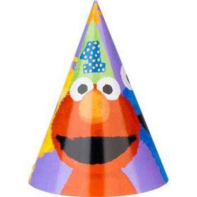 Sesame Street 1st Birthday Party Hats (8-pack)