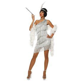 Sexy Womens Dazzling Flapper Costume Silver