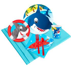 Shark Birthday Party Deluxe Tableware Kit Serves 8
