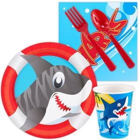 Shark Birthday Party Standard Tableware Kit Serves 8