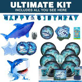 Shark Birthday Party Ultimate Tableware Kit Serves 8