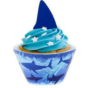 Shark Cupcake Wraps With Picks (12-pack)