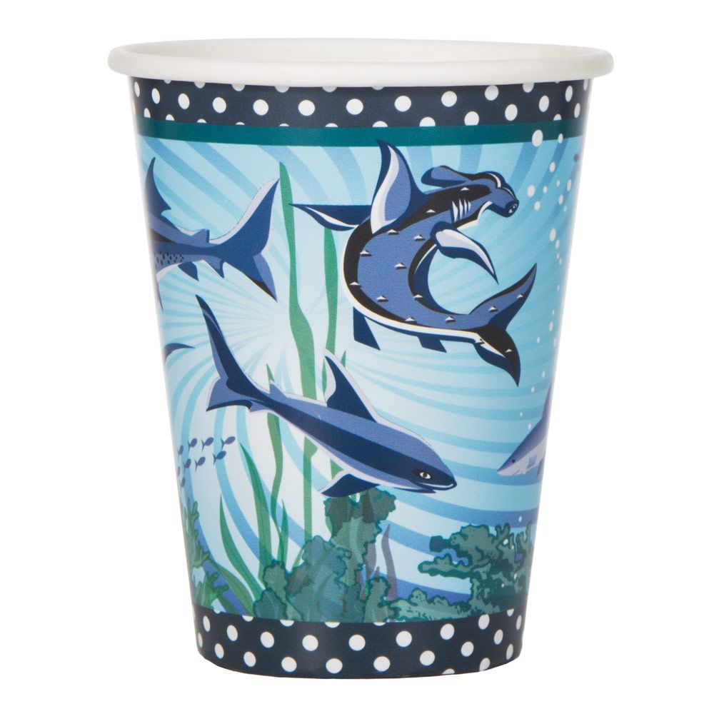 Shark Party Supplies 9 oz Cups (8 Pack) BB72937