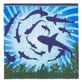 Shark Party Beverage Napkins (16 Pack)