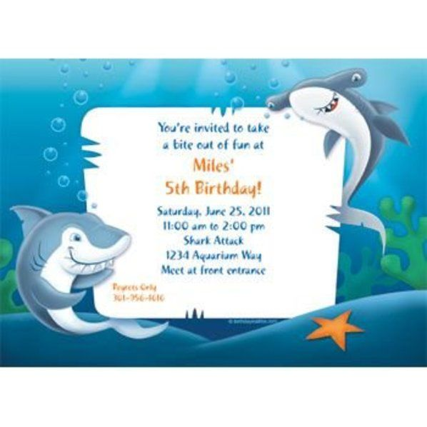 Sharks Invitation Custom Invitations Party Supplies – Shark Invitations Birthday Party