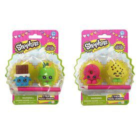Shopkins 2-Pack Mini Figure Puzzle Erasers Assortment.