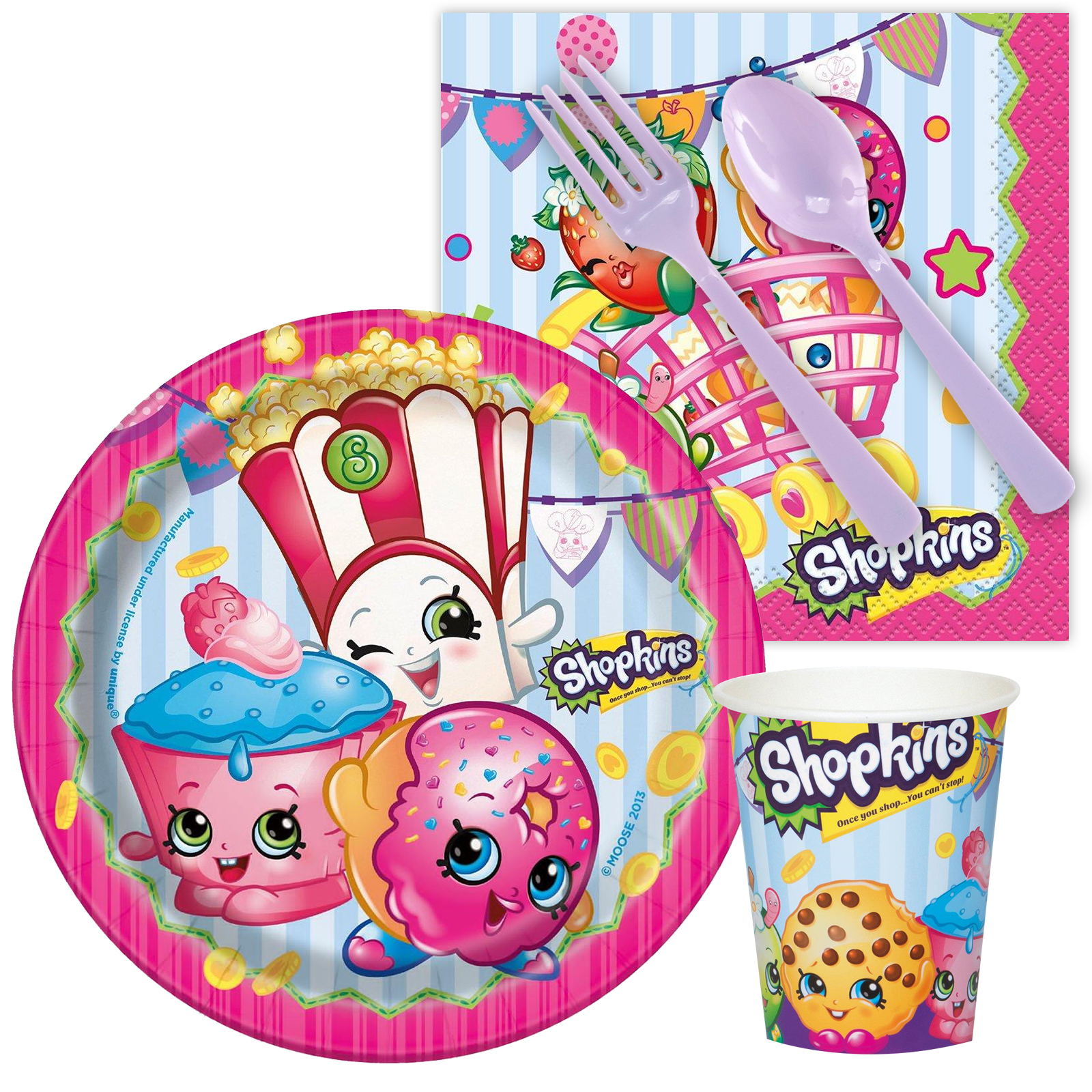 Shopkins Birthday Tableware Kit Serves 8 - Party Supplies BBKIT1075