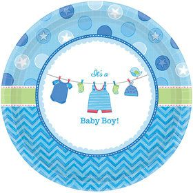"Shower With Love Baby Boy 7"" Plate (8 Count)"