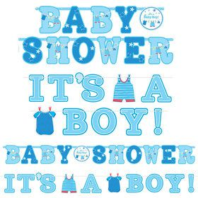 Shower With Love Baby Boy Banner Signs (2 Count)